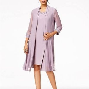 R & M Richards orchid scoop neck dress with duster